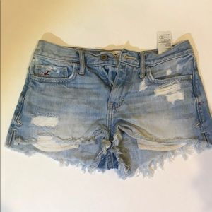 Hollister Light Wash Ripped Shorts
